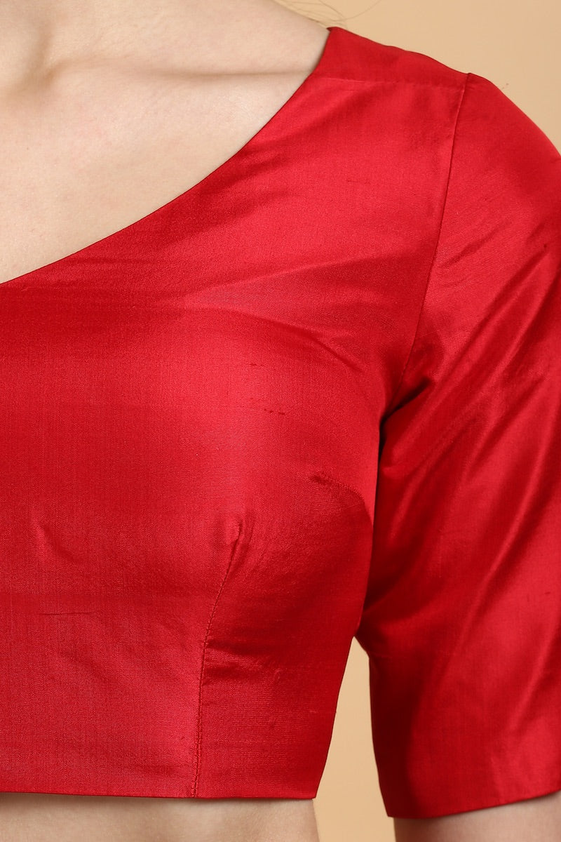 Red Silk Tassel Detail Blouse