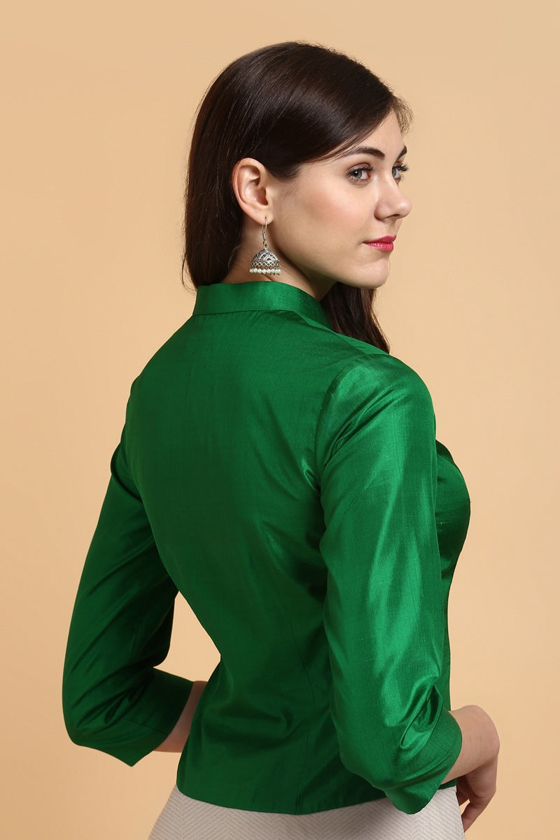Green Silk Jacket-Style Blouse