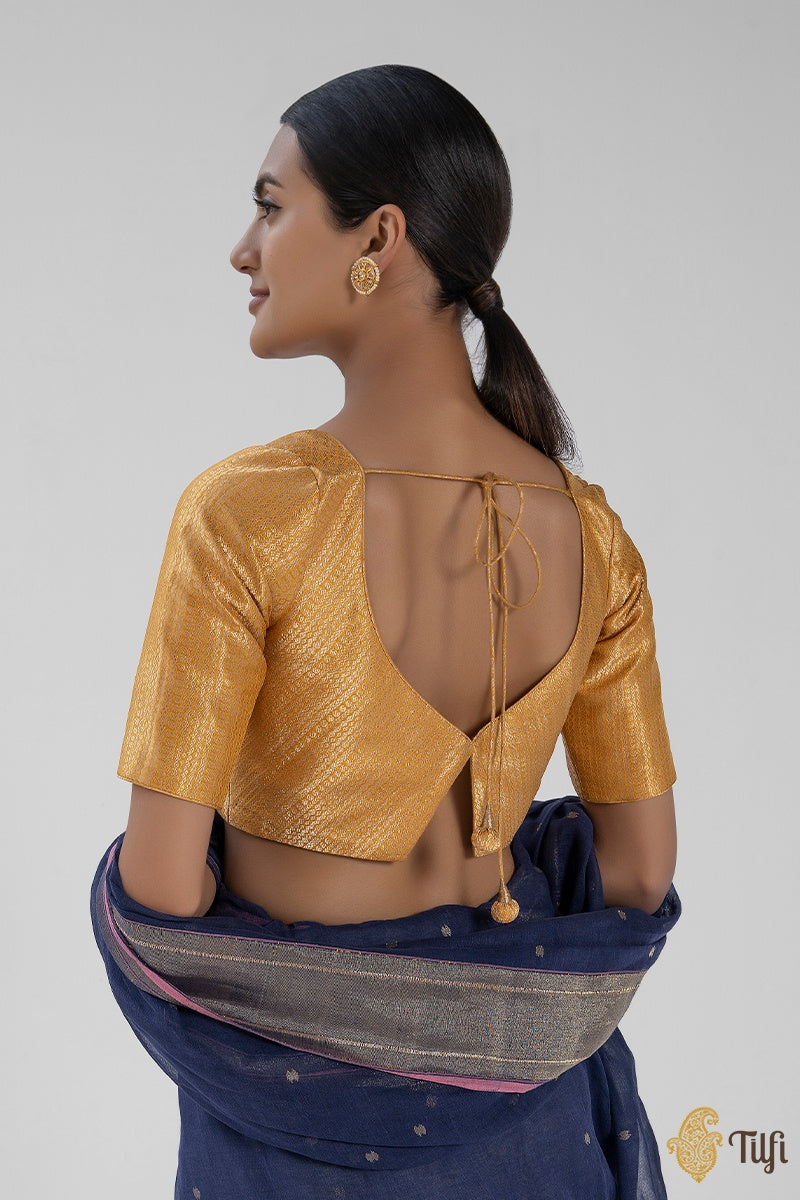 Mustard Yellow Pure Katan Silk Handloom Banarasi Blouse