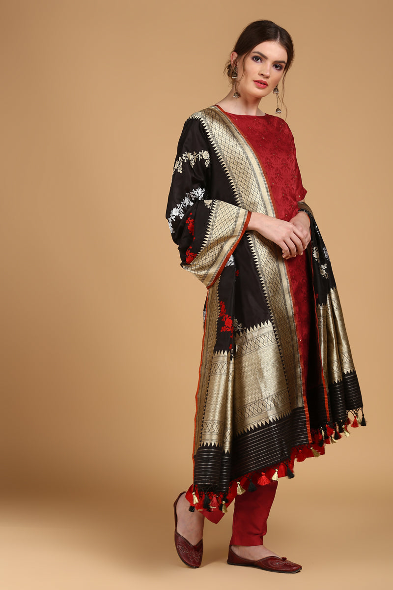 Red Tanchoi Suit Set with Black Pure Katan Silk Dupatta
