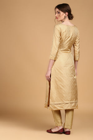 Beige-Gold Tanchoi Suit Set with Black Pure Katan Silk Dupatta