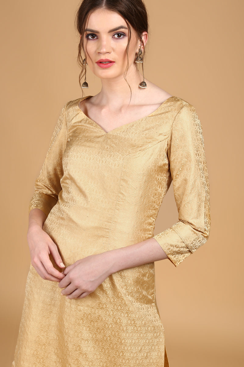 Beige-Gold Tanchoi Suit Set