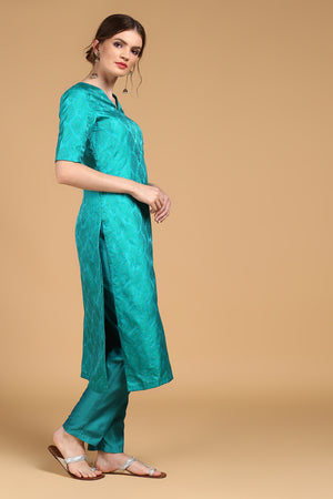 Teal Tanchoi Suit set with Grey Pure Katan Silk Dupatta