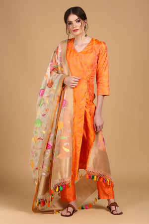Yellow-Orange Tanchoi Suit Set with Floral Kora Dupatta