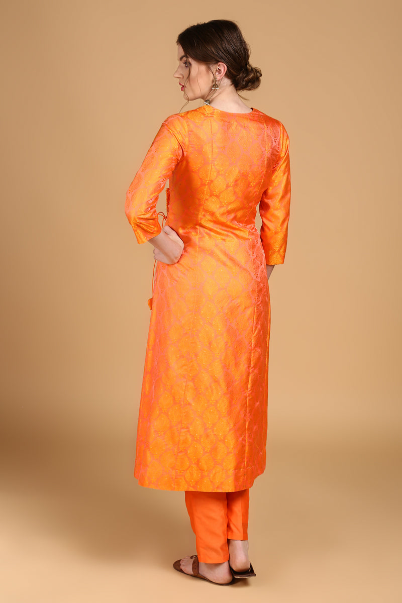 Yellow-Orange Tanchoi Suit Set