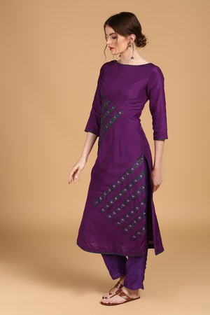 Purple Pure Silk Suit set with Purple Organza Dupatta