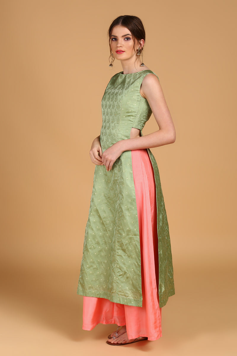 Green Pure Silk Tanchoi Suit set