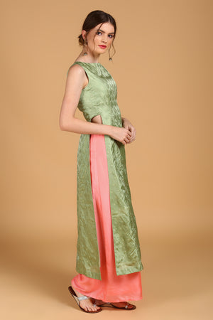Green Pure Silk Tanchoi Suit set with Peach Dupatta
