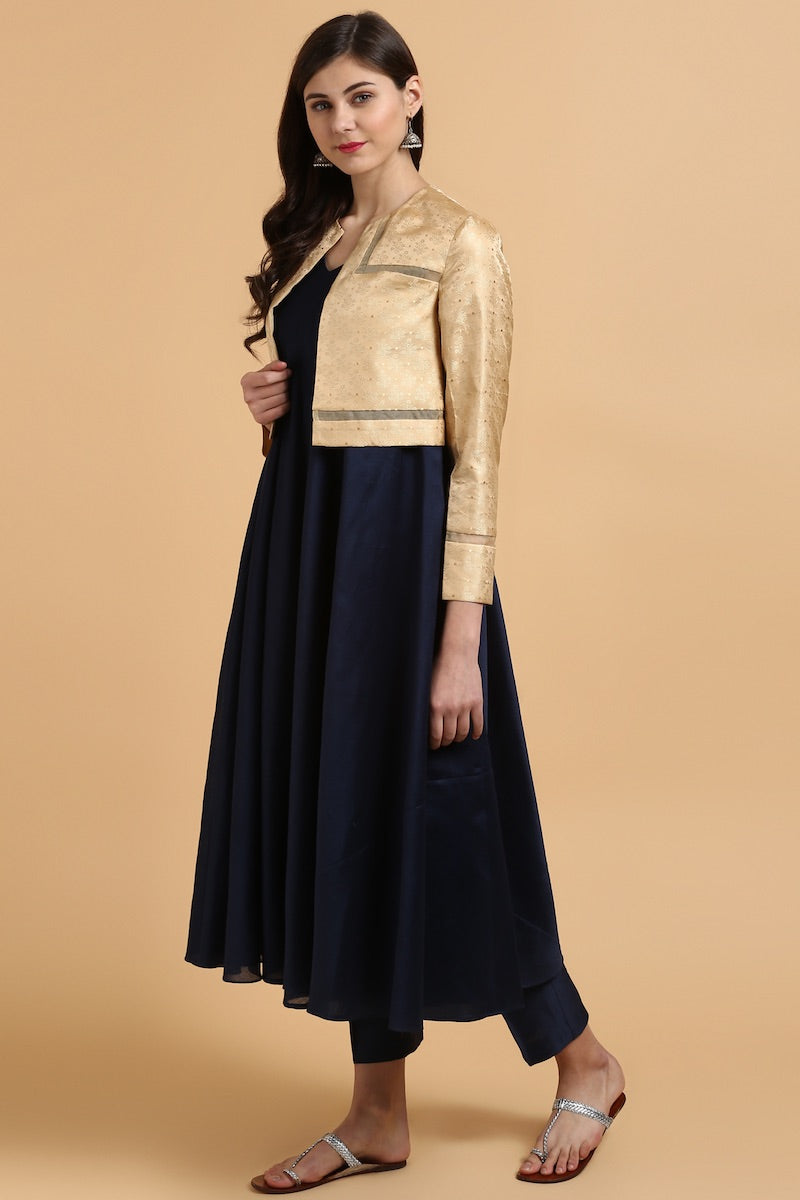 Deep Blue Chanderi Suit & Beige Banarasi Tanchoi Jacket Set