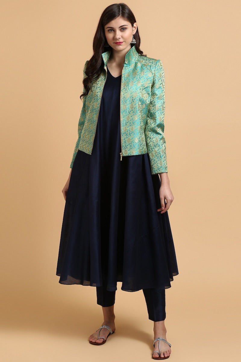 Deep Blue Chanderi Suit & Green Banarasi Tanchoi Jacket Set