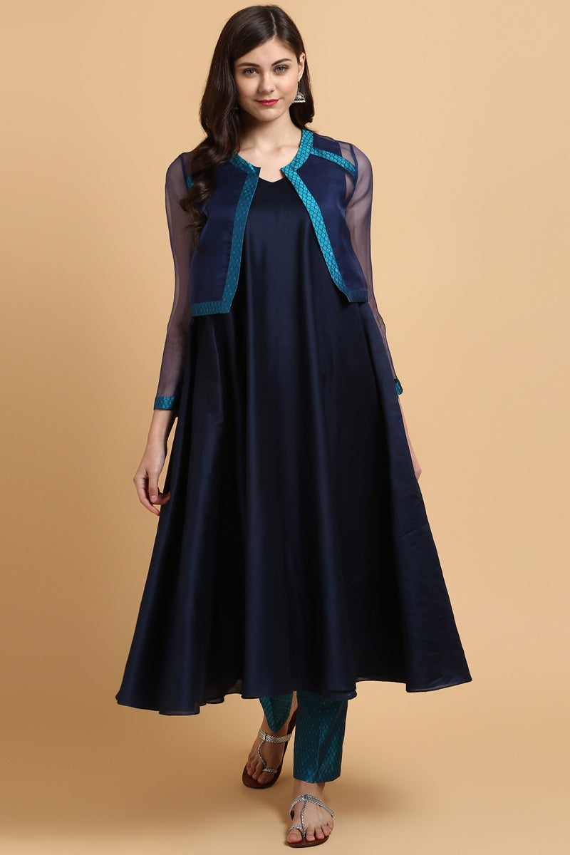 Deep Blue Chanderi Suit & Blue Banarasi Tanchoi Pants Jacket Set