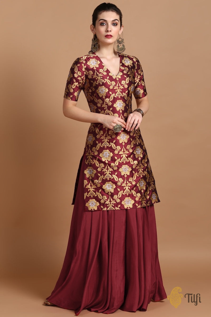 Merlot Red Pure Katan Silk Kadwa Jangla Handloom Suit-Skirt Set