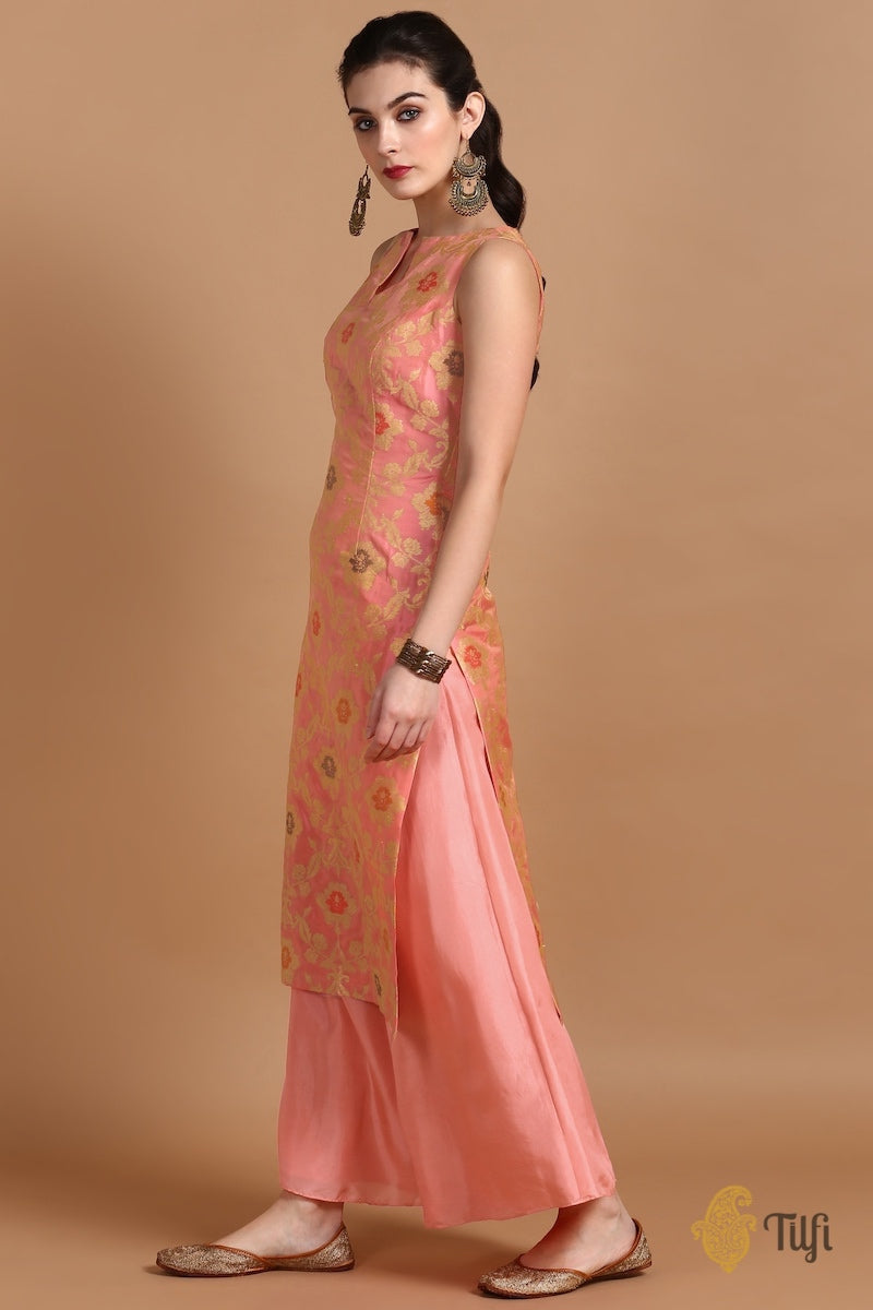 Peach Pink Pure Katan Silk Kadwa Jangla Handloom Suit Set