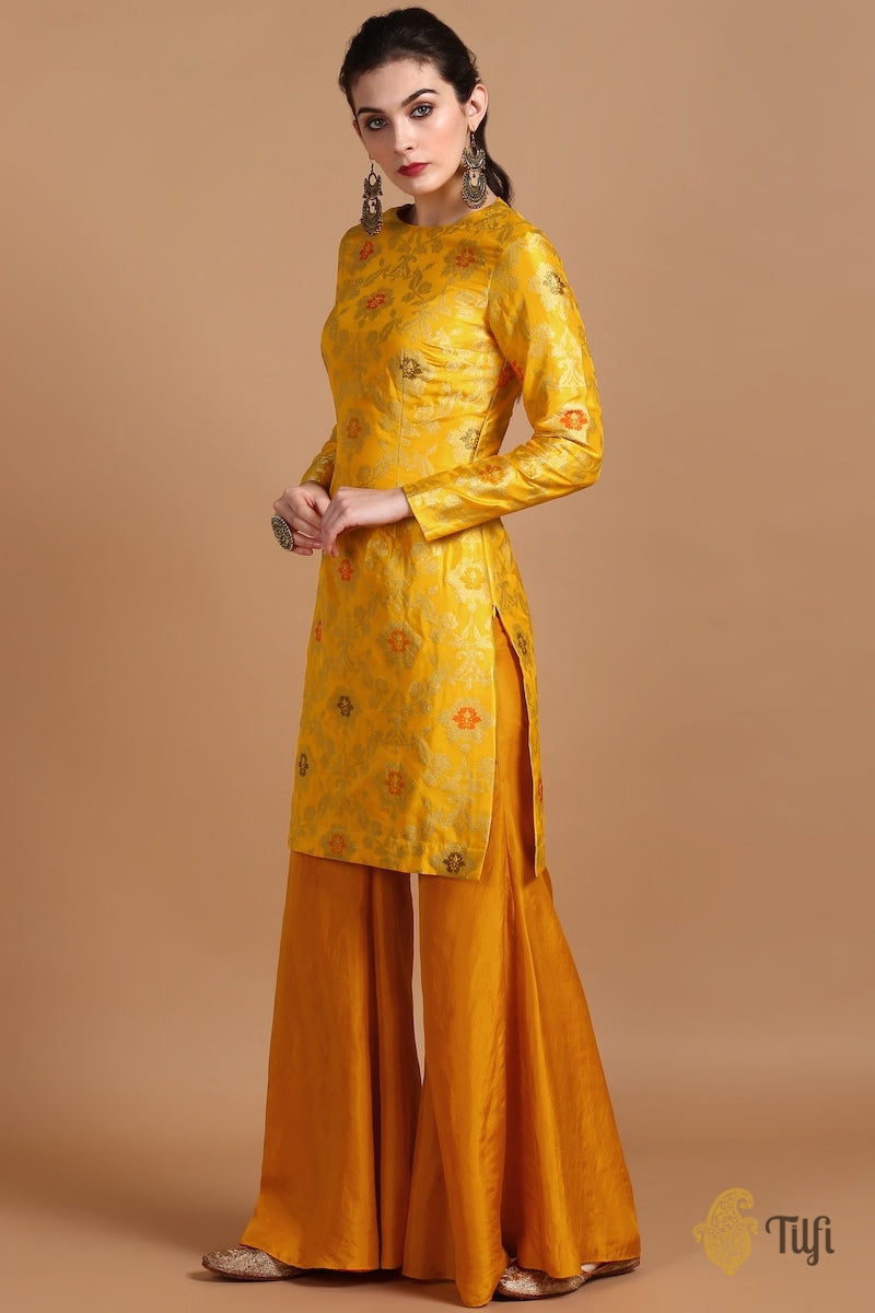 Marigold Yellow Pure Katan Silk Kadwa Jangla Handloom Suit Set