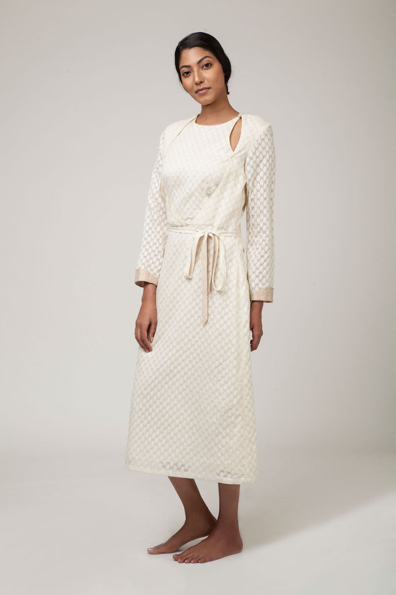 Off-White Banarasi Silk by Cotton Cutwork Dress