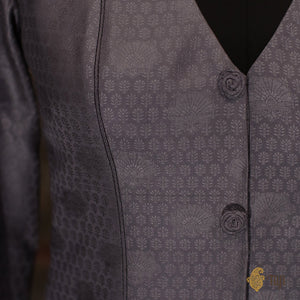 Grey Tanchoi Handwoven Banarasi Long Jacket