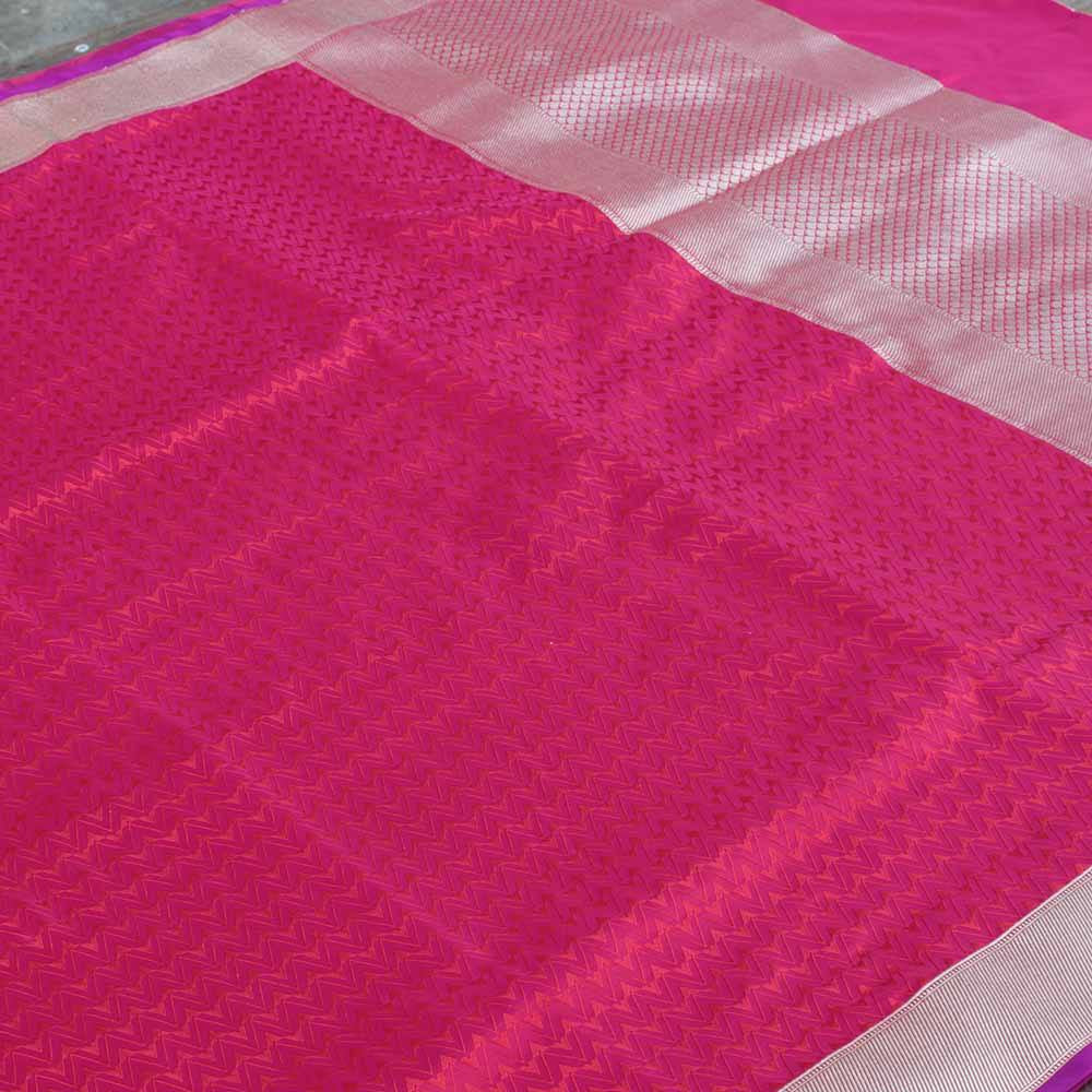 Red-Rani Pink Pure Soft Satin Banarasi Handloom Saree