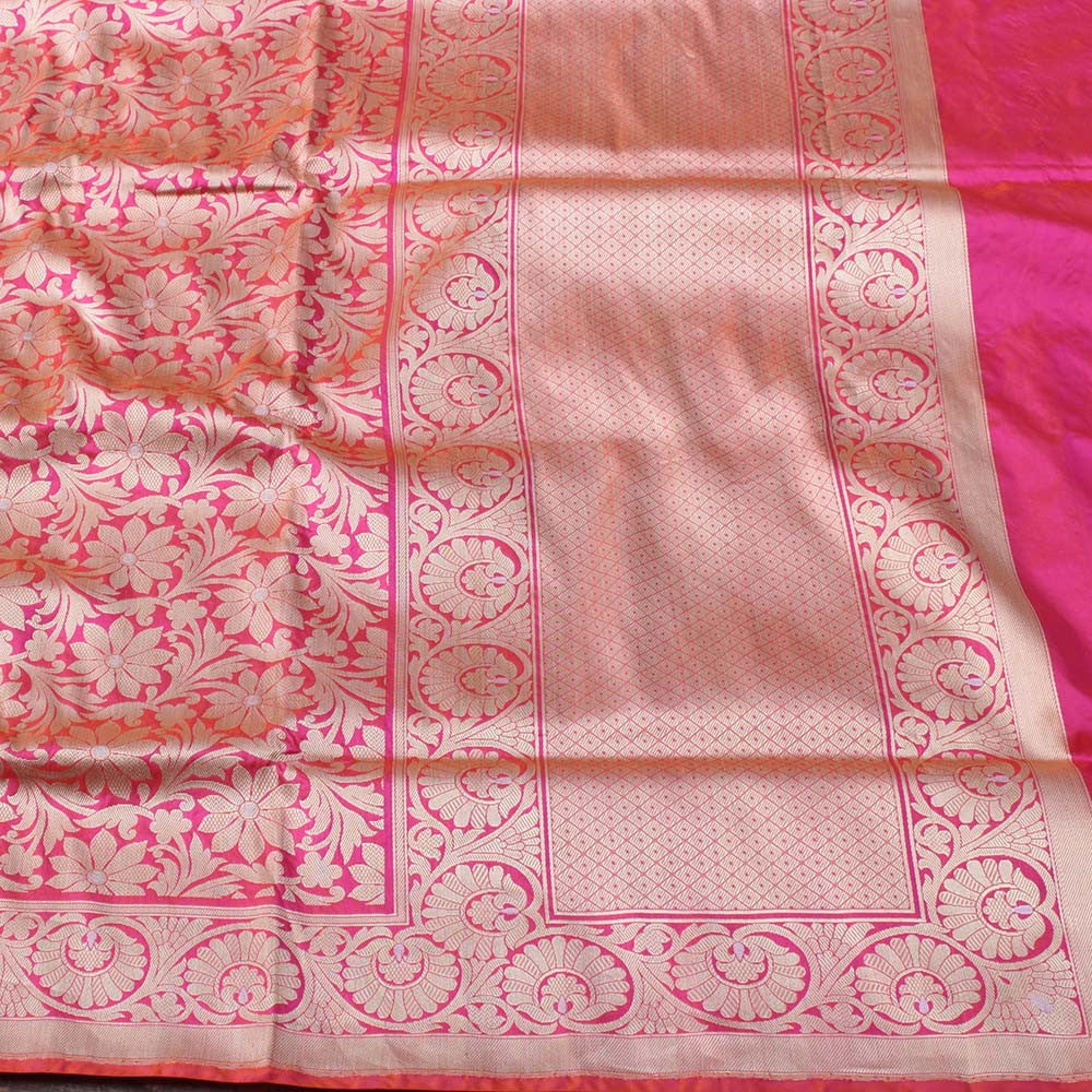 Orange-Rani Pink Pure Katan Silk Banarasi Handloom Saree - Tilfi