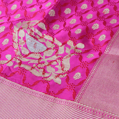 Gulabi Pink Pure Soft Satin Banarasi Handloom Saree
