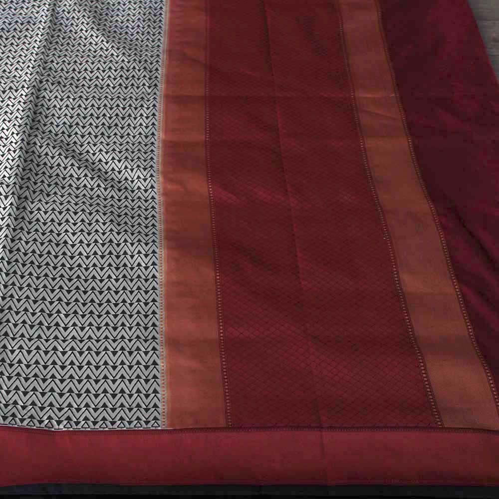 Black and Grey Pure Soft Satin Banarasi Handloom Saree - Tilfi
