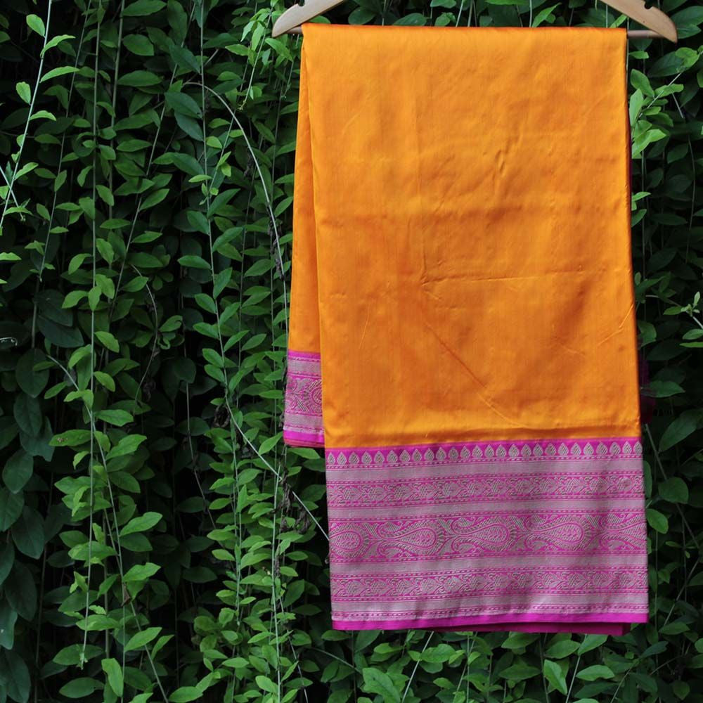 Orange Pure Katan Silk Banarasi Handloom Saree - Tilfi