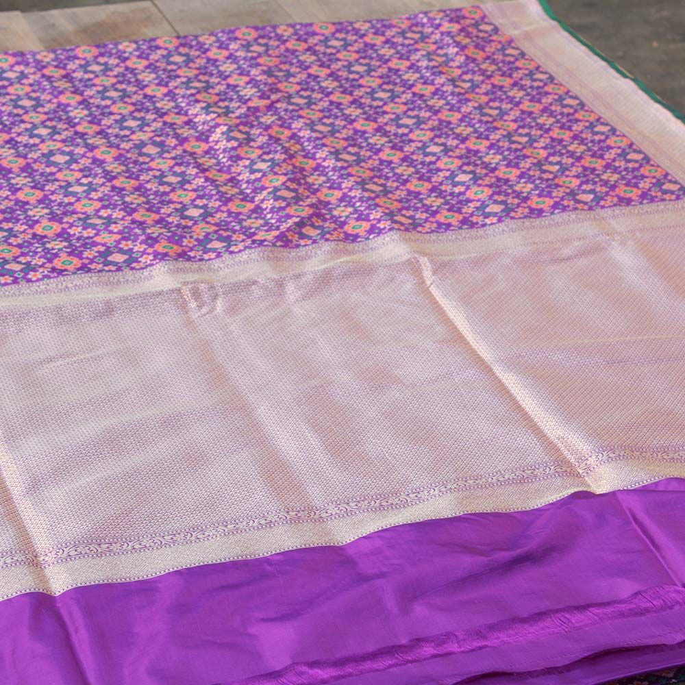 Purple Pure Katan Silk Banarasi Patola Handloom Saree - Tilfi