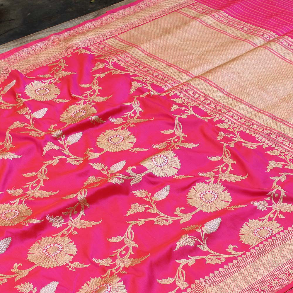 Orange-Gulabi Pink Pure Katan Silk Banarasi Handloom Saree - Tilfi