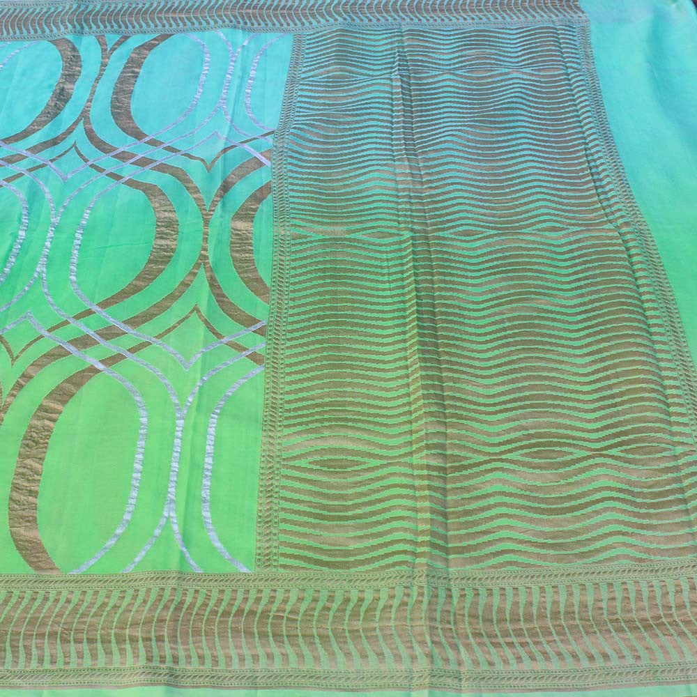 Blue-Green Ombre Pure Chiffon Georgette Banarasi Handloom Saree