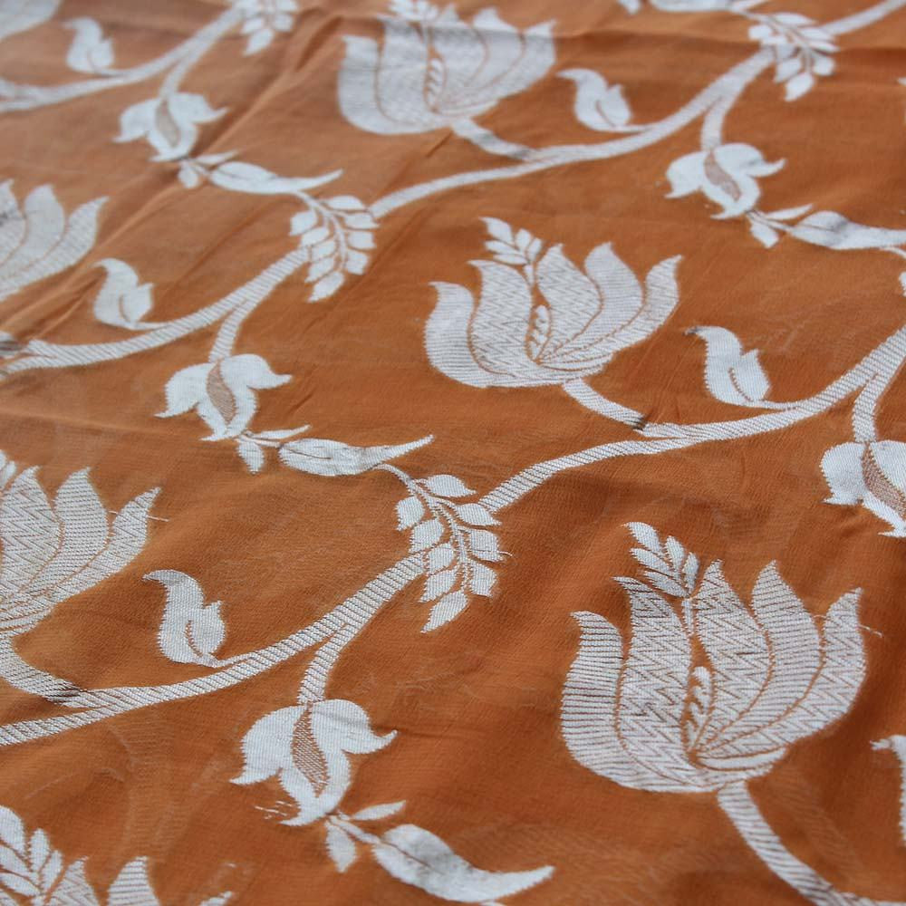 Burnt Orange Ombre Pure Chiffon Georgette Banarasi Handloom Saree