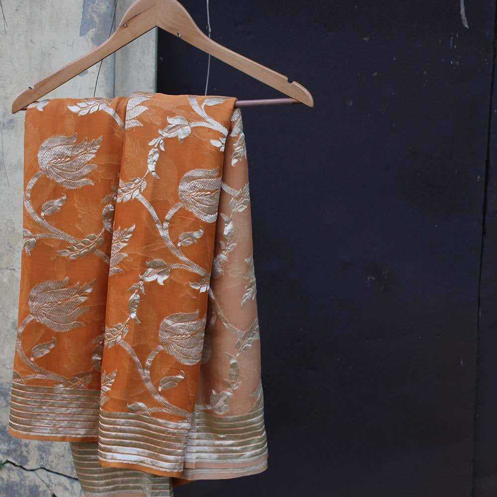 Burnt Orange Ombre Pure Chiffon Georgette Banarasi Handloom Saree - Tilfi