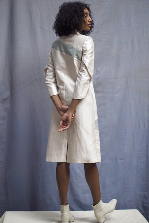 """Acute"" Off-White Handwoven Silk Button-Down Jacket Dress"