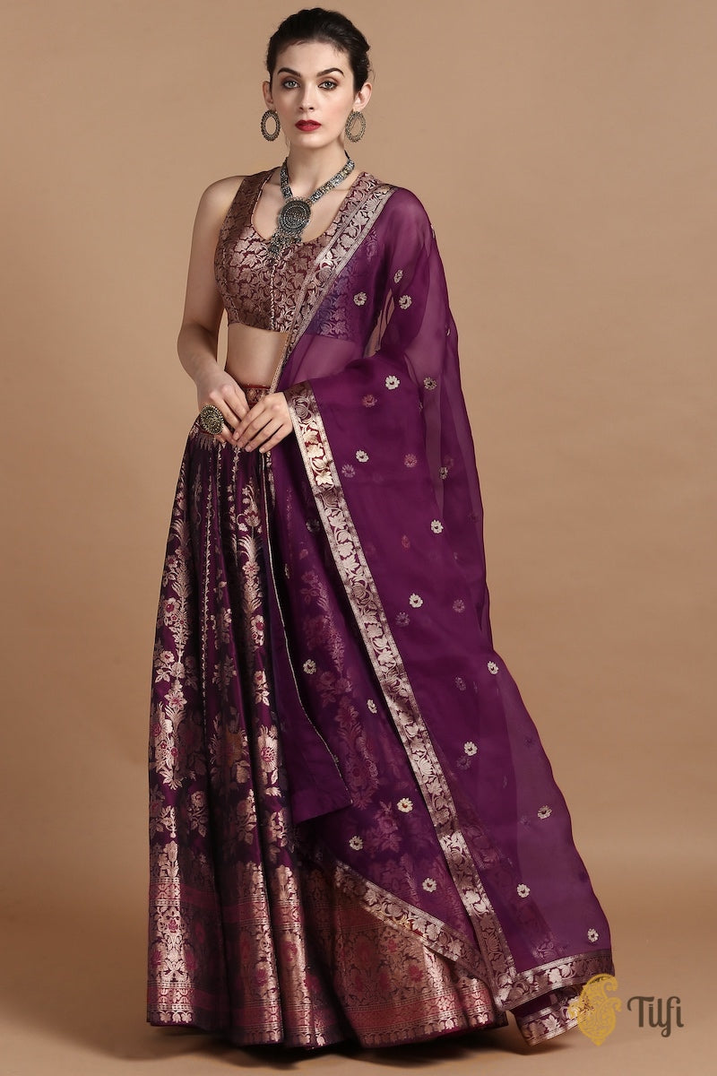 Black-Magenta Pure Katan Silk Banarasi Handloom Made-to-Measure Lehenga