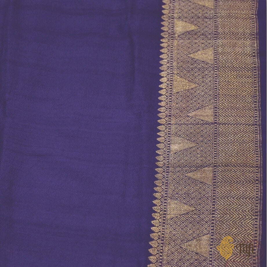 Pre-Order: Purple Pure Tussar Georgette Silk Banarasi Handloom Saree