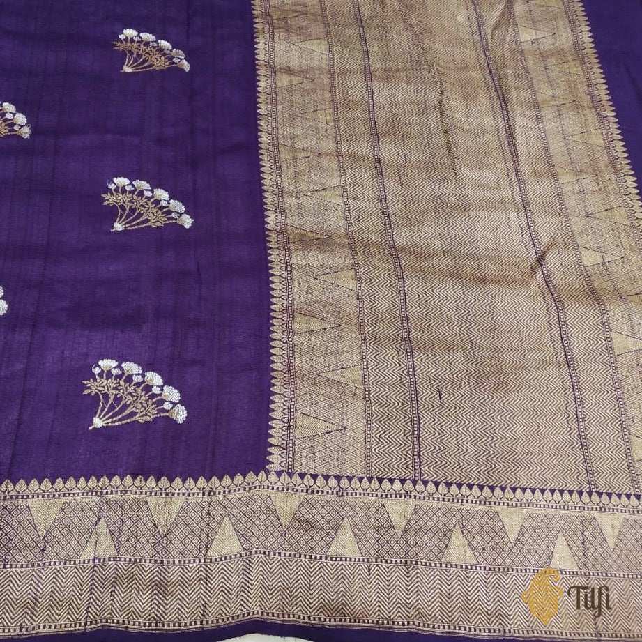 Purple Pure Tussar Georgette Silk Banarasi Handloom Saree