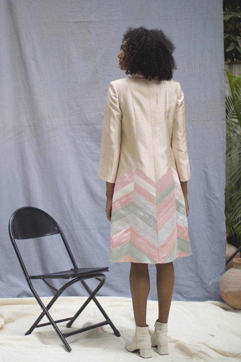"""Isosceles"" Beige Handwoven Silk Button-Down Jacket Dress"