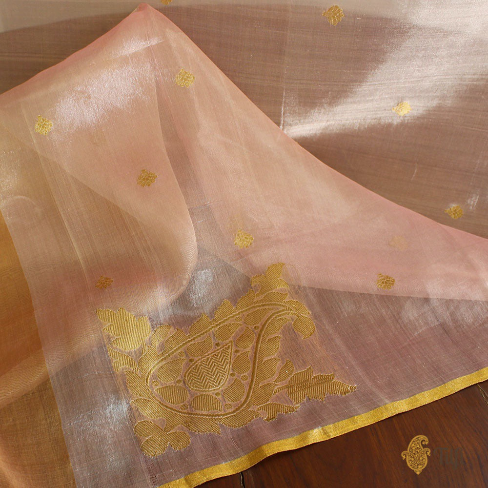 Light Pink Pure Kora Tissue Banarasi Handloom Dupatta