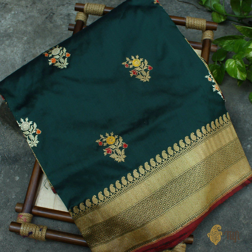 Dark Rama Green Pure Katan Silk Banarasi Handloom Saree