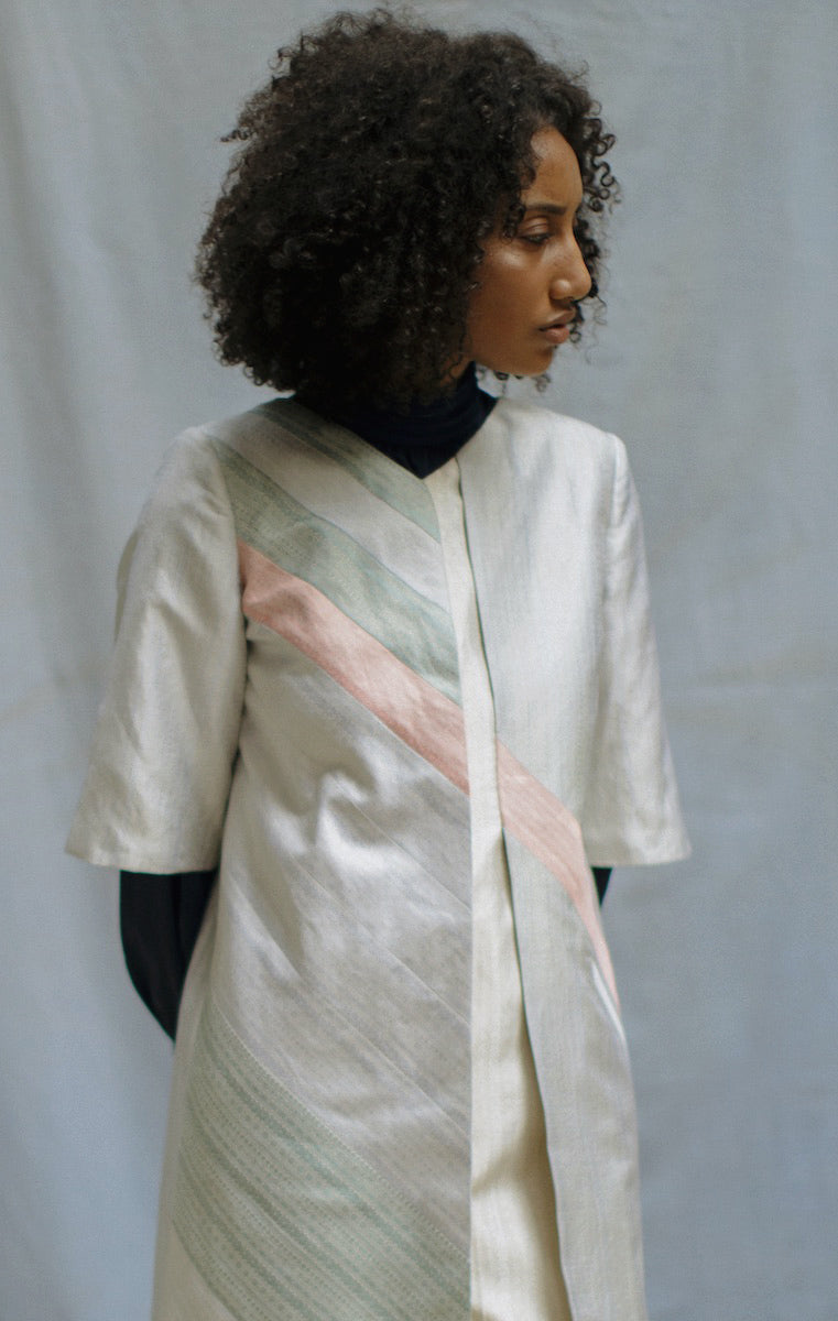 """Parallel"" Light Blue Handwoven Silk Overlap Jacket Dress"