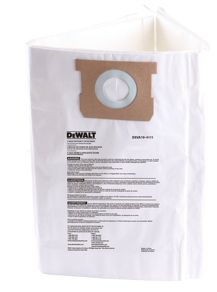 DXVA19-4111 DeWalt High Efficiency Filter Bag (3) for 6-10 Gallon DeWalt Wet/Dry Vacuums