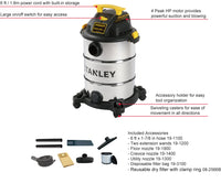 SL18117 - Stanley Wet/Dry Vacuum, 8 Gallon, 4 peak Horsepower
