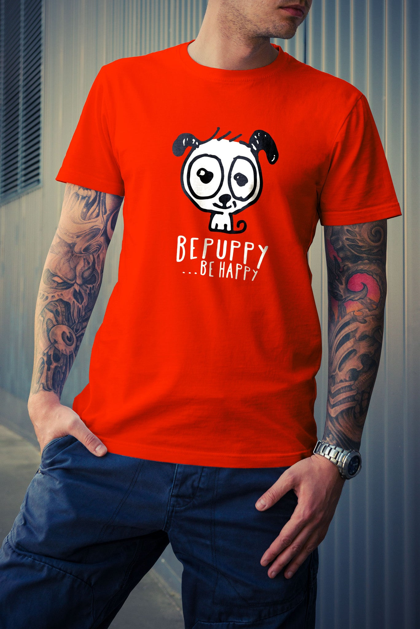 Men's t-shirts bepuppy be happy! Dog lover t-shirts - BEPUPPY
