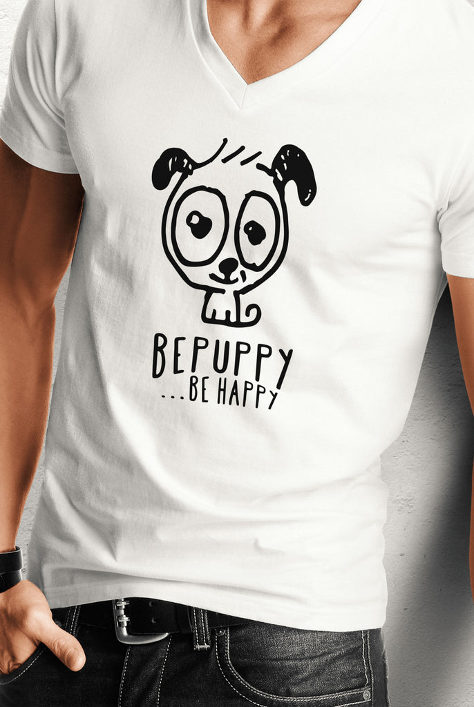 V-neck t-shirts for men who love pets! BE HAPPY! - BEPUPPY