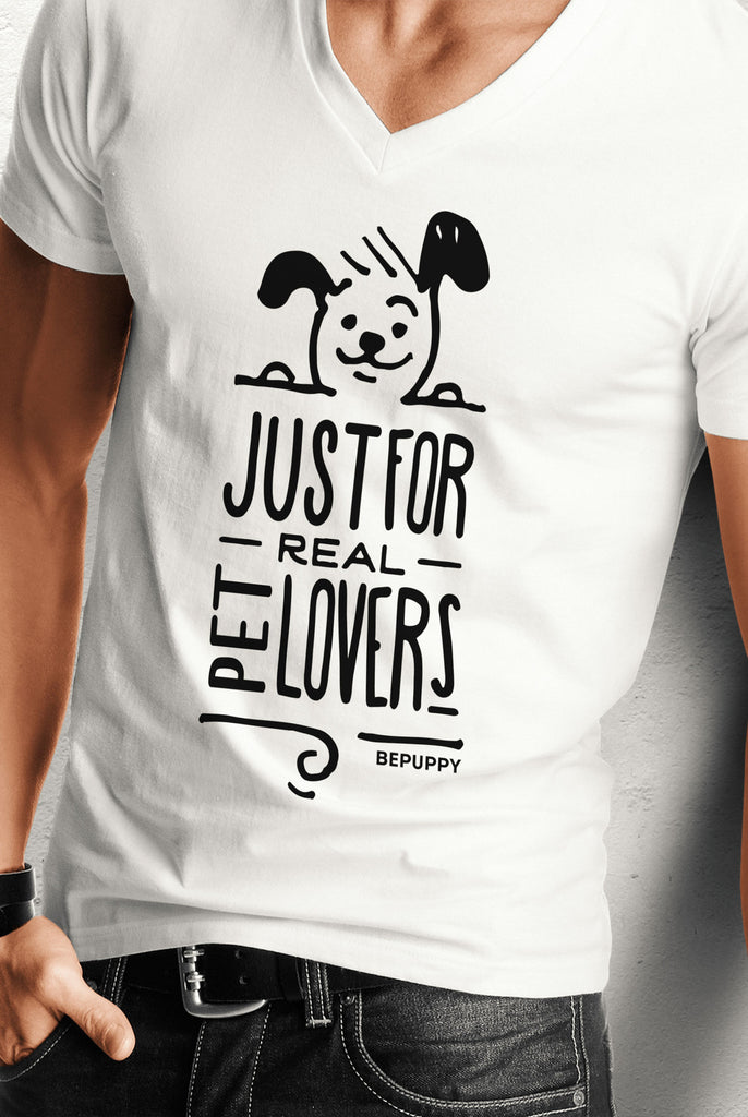 V-neck t-shirt for men, just for real pet lovers! - BEPUPPY