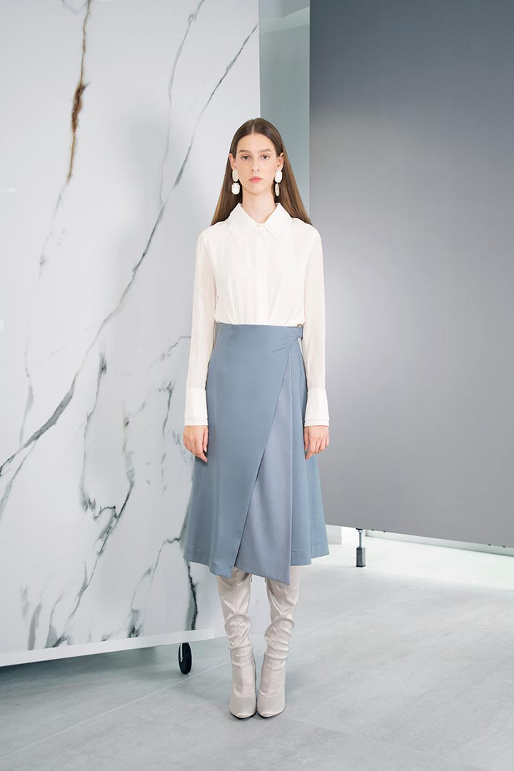 Pigeon Blue Virgin Wool Skirt - Shopyte