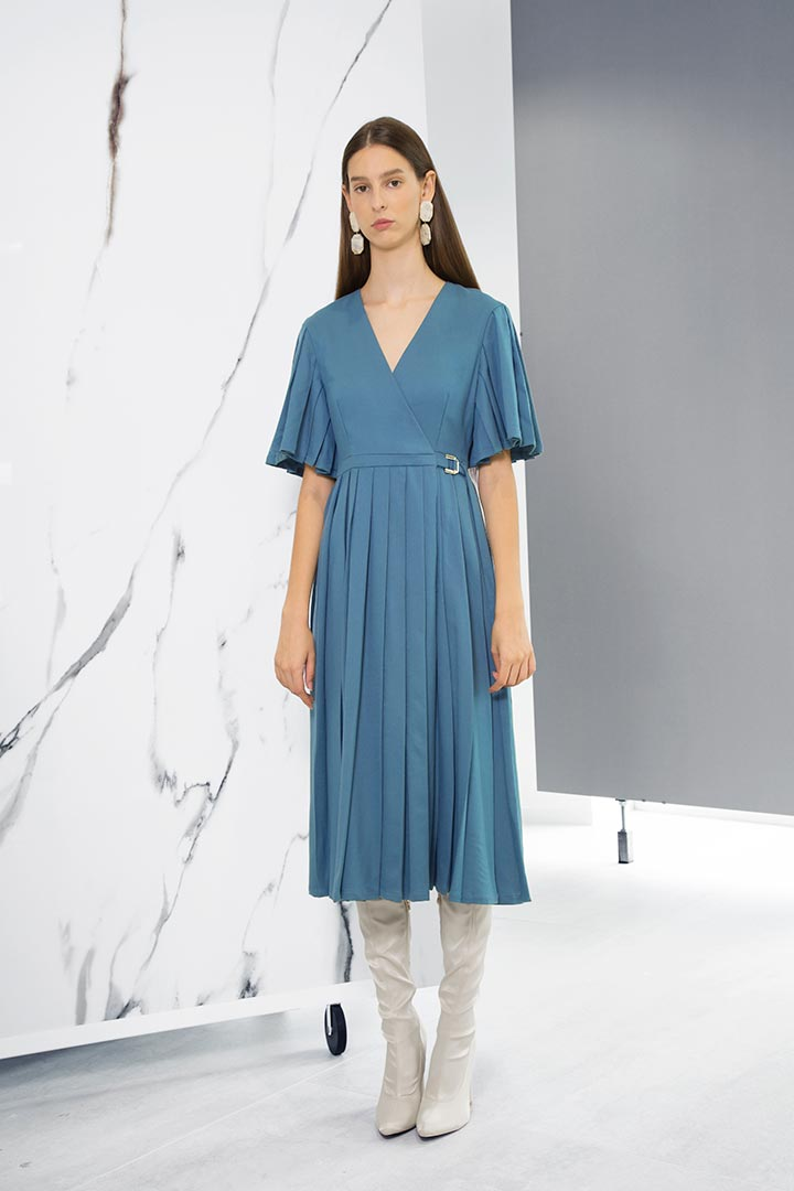 Turkish Blue Virgin Wool Dress - Shopyte
