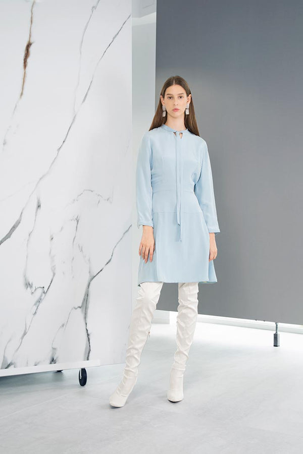 Powder Blue Silk Dress