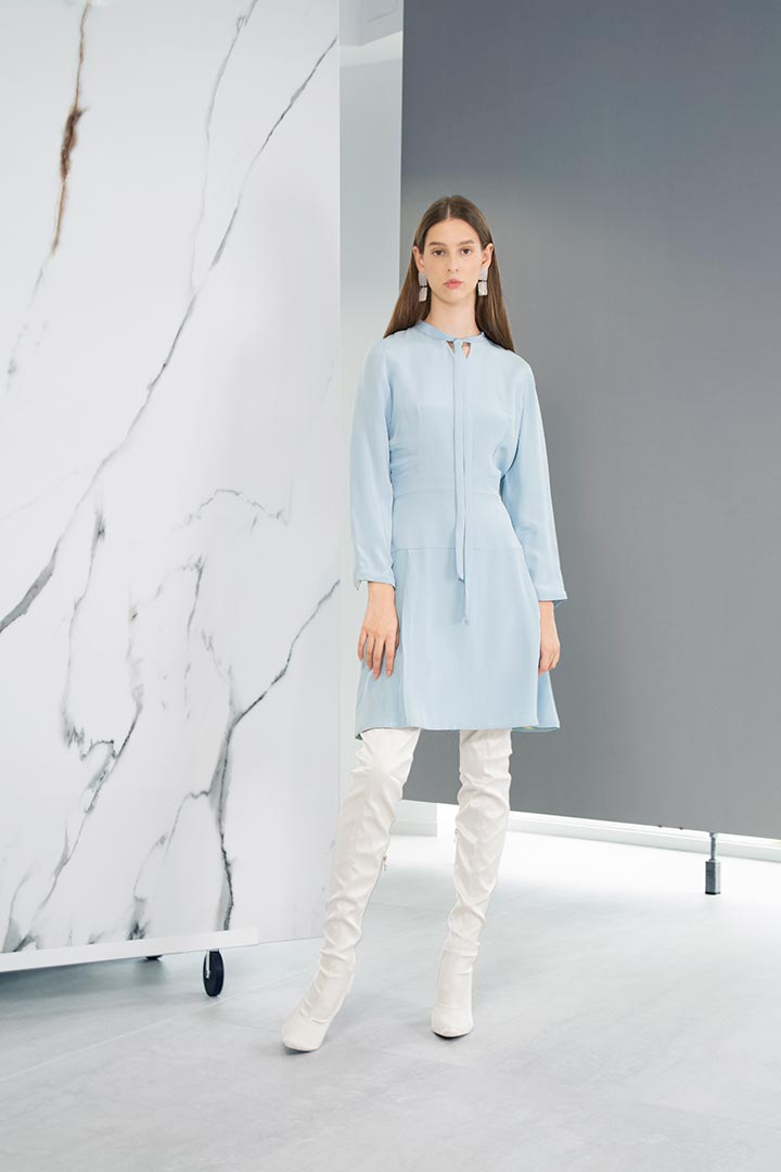 Powder Blue Silk Dress - Shopyte