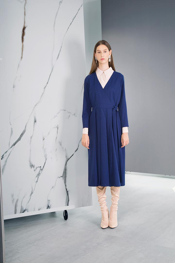 Royal Blue Virgin Wool Dress - Shopyte