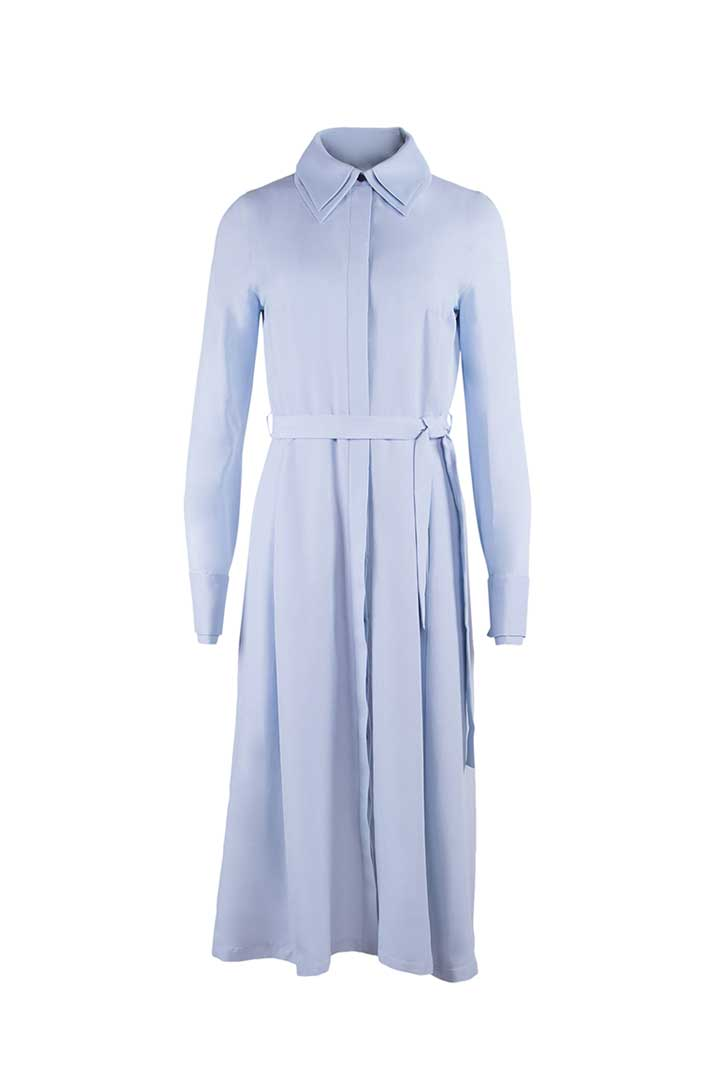Silver-Blue Silk & Cotton Dress - Shopyte