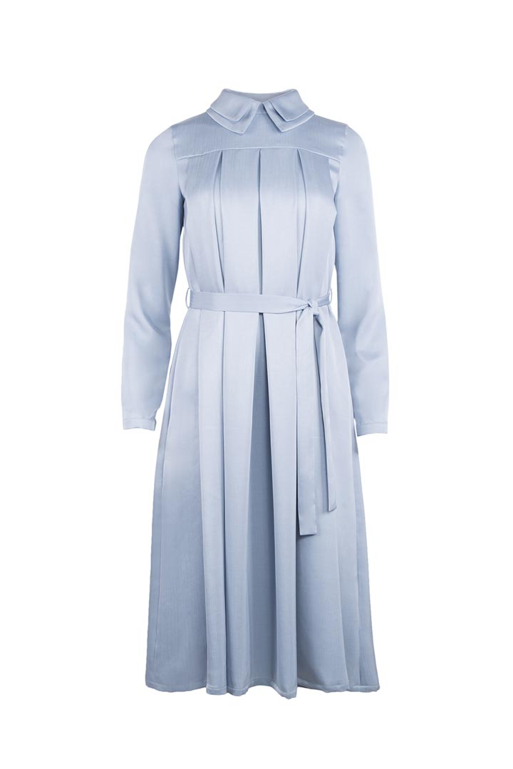 Sky Blue Silk & Wool Dress - Shopyte